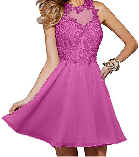 Pink Partykleider Cocktailkleider Spitze Promkleider Damen Chiffon Charmant Kurz Abendkleider Beige Kurz nXvat0Z