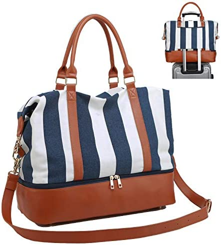 BAOSHA HB-28 Ladies Women Canvas Travel Weekender Overnight Carry-on Shoulder Duffel Tote Bag with PU Leather Strap Blue Strips with Shoe Compartment