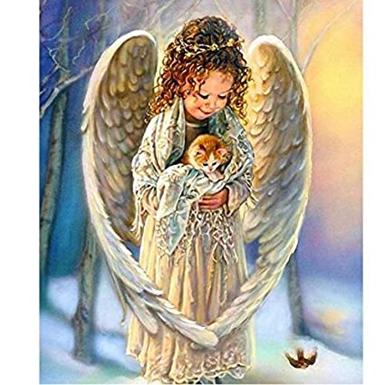 Smartcoco 5D DIY Diamond Painting Angel and Cat Wall Sticker 3D Diamond Mosaic Cross Stitch Embroidery 25X30CM
