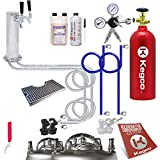 Kegco BF UTCK2-BLCP-5T Ultimate 2 Tap Tower Kegerator Home-Brew Kit Ball Lock with 5 lb Tank, Stainless Steel