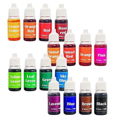 16 Colors Soap Making Colorants,Liquid Bath Bombs Colorant Set,Food Grade Skin Safe,Handmade Soaps dye,Crafts,Slime,Soap Making Supplies
