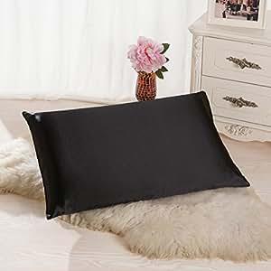 ALASKA BEAR - Natural Silk Pillowcase, Hypoallergenic, 19 momme, 600 thread count 100 percent Mulberry Silk, King Size with hidden zipper(1, Black)