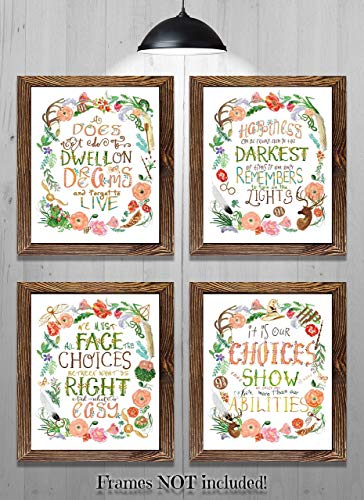Everything Rustique Harry Potter Quotes art inspired Harry Potter art - Set of 4-8