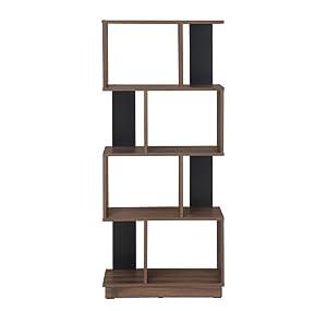 @home by Nilkamal Checkers 4 Tier Book Shelf (Melamine Finish, Walnut)