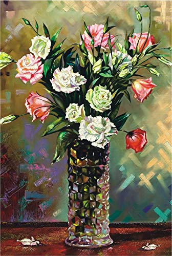 Funnybox Flowers in a Vase- Oil Painting Wooden Jigsaw Puzzle 1000 Pieces for Teens Family