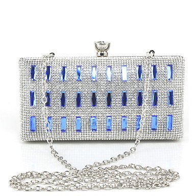 SUNNY KEY-Clutches@Metall Glitter Druckknopf Blau Gold Silber