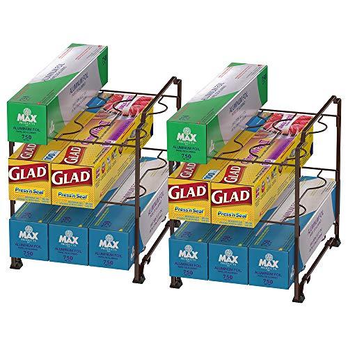 NEX Kitchen Wrap Organizer Rack – 2 PACK Stackable