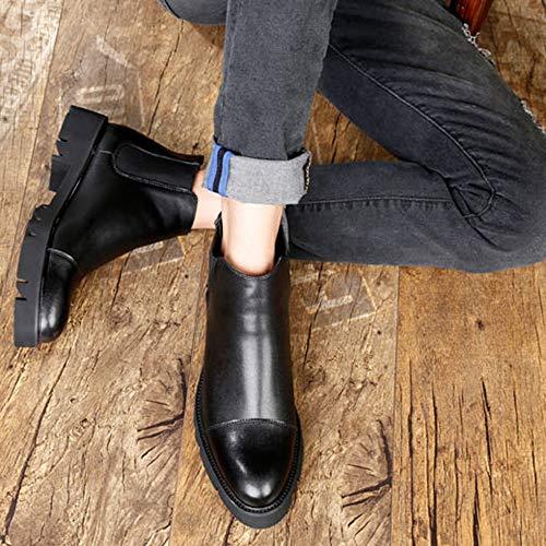 Punta Stivaletti Per Da Vera Stivali Chelsea Black La Scarpe Antiscivolo Neve Con Alla Da Caviglia In Pelle Uomo Casual Scuola 0gq0rB