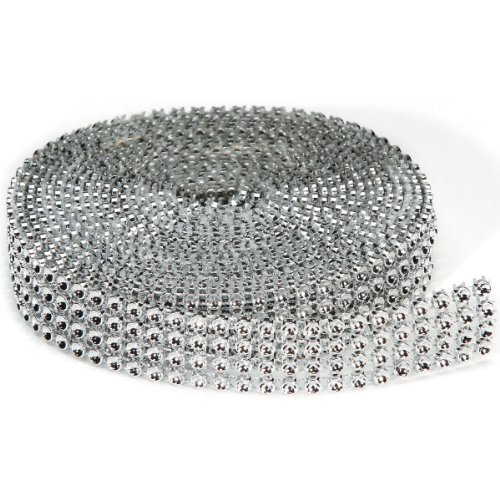 Ribbon Mirror - Darice 4 Row, 3mm x 3 Yards Silver Bling on a Roll,