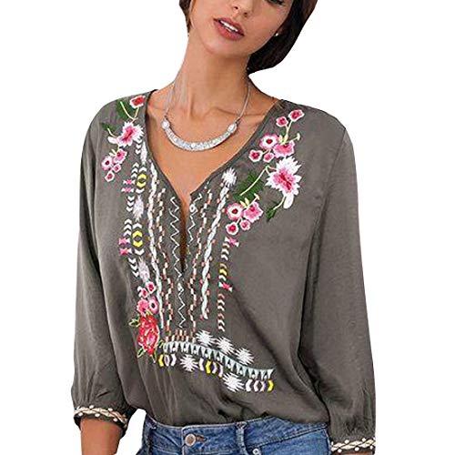 Womens Bohemian Shirt Embroidery Flower V-Neck 3/4 Sleeve Linen Tops Blouse Tee (XXL, Grey)