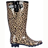 Flat Festival Wellies Knee High Rain Boots Leopard US 7