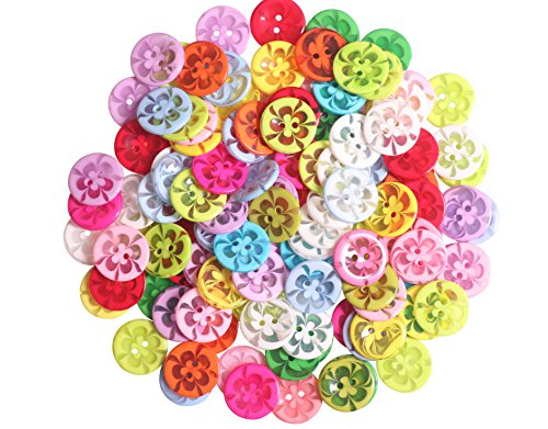 YAKA100 Pcs 20mm Assorted Color Resin Button 2 Holes for Sewing Crafts Scrapbooking and DIY Craft 0.8inch