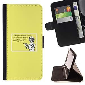 - FUNNY QUOTE GLASSES HUMOR CUTE GIRL GEEK - - Prima caja de la PU billetera de cuero con ranuras para tarjetas, efectivo desmontable correa para l Funny HouseFOR Apple Iphone 4 / 4S