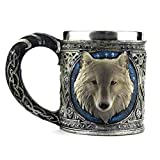 ❤JPJ(TM)❤️_Home decoration 1PC New Creative 3D Wolf King Head Pattern Mug Retro Resin Stainless Steel Coffee Tea Cup (Multicolor)