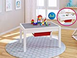 UTEX Deluxe 2 In 1 Kids Construction Play Table with Storage Drawers and Built In Plate, White