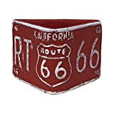 Rustic Route 66 Triangular Planters, Vintage Style License Plate Design, Set of Two (Red)