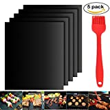 Image of Atiyoc BBQ Grill Mat, Non-stick and Heat Resistant Mats for Charcoal, Electric and Gas Grill FDA-Approved, PFOA Free (5 Pack)