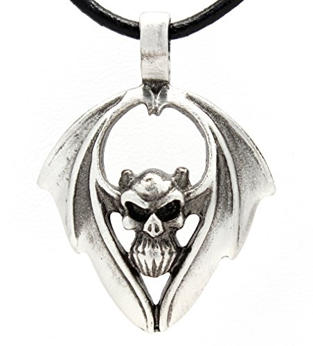 Pewter Winged Demon Skull Pendant on Leather Necklace