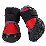 #1: Hdwk&Hped All Season Dog Hiking Shoes, Waterproof Anti-slip Thick Sole Velcro Strap Outdoor Dog Boots for Small Dog Cat, Red, 50, 4pcs