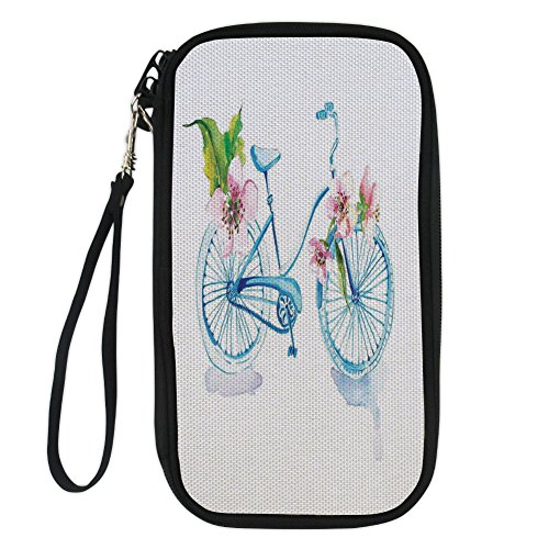 iPrint Bicycle,Grungy Inspired Watercolors Textured Bicycle with Orchids Romantic Vehicle Figure,Pink Blue for Women Canvas Document Organizer Clutch (Wristlet Orchid Pink)