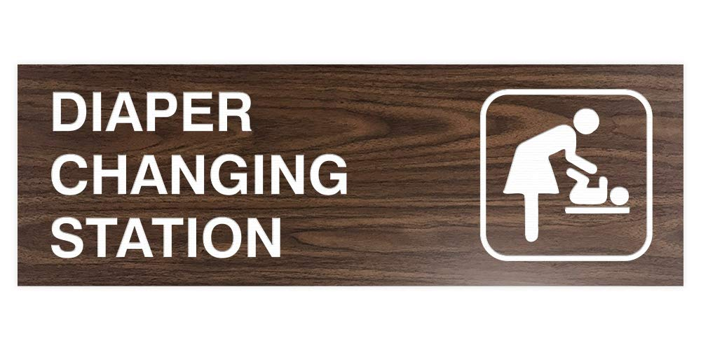 Signs ByLITA Basic Diaper Changing Station Sign (Walnut) - Large by Signs ByLITA