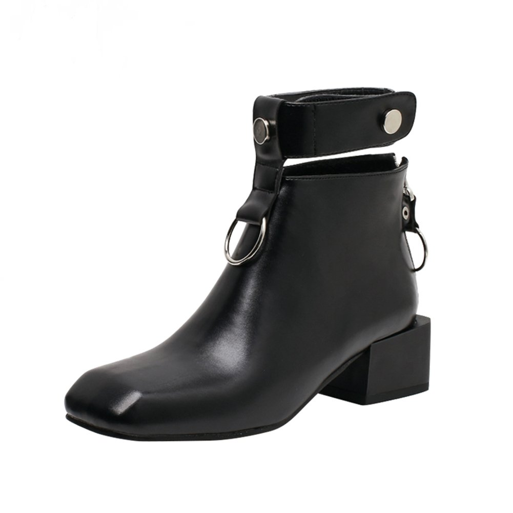 Women's Low Heel Ankle Boots Cool Fashion Punk Ring Bootie Martin Boots