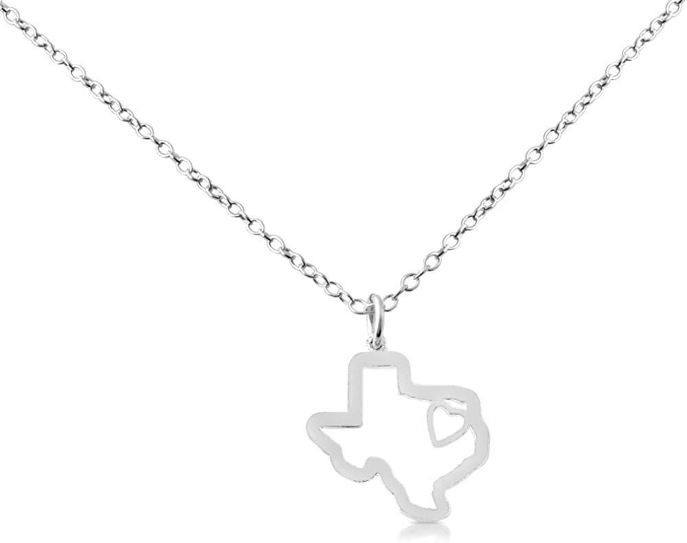 Belcho USA 925 Sterling Silver Small Texas -Home is Where The Heart is- Home State Necklace