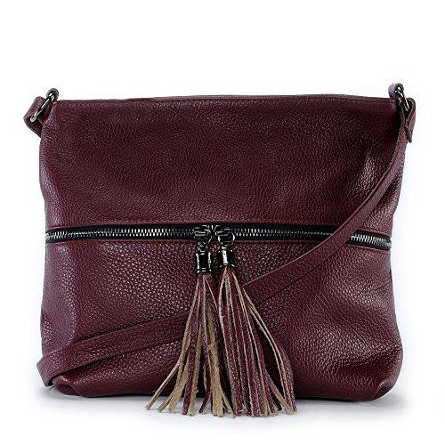Oh My Bag–Bolso bandolera de piel Para Mujer–Modelo London ROUGE FONCE