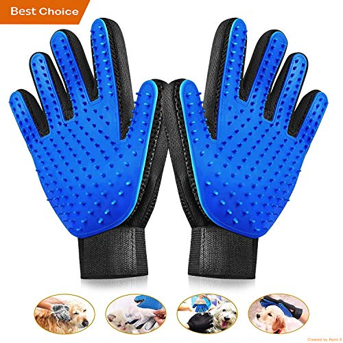 Pet Grooming Gloves - Gentle Pet Grooming Glove Brush - Efficient Deshedding Glove - Gentle De-Shedding Brush -  Perfect for Dogs & Cats  & Horses with Long & Short Fur
