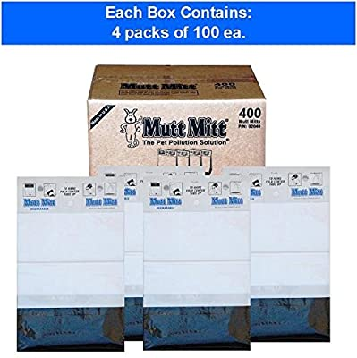 """Mutt Mitt 2-ply Pet Waste """"Bags"""" on Hangable Headers, 400-count"""