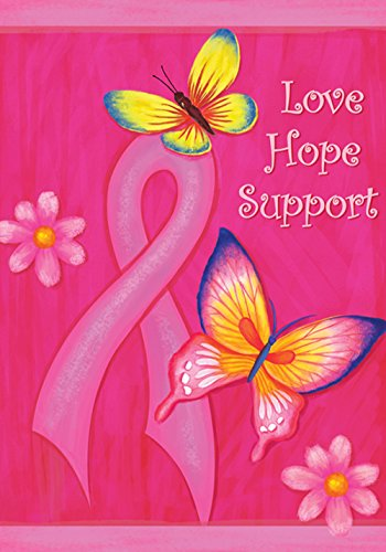 Toland Home Garden Love Hope Support 28 x 40 Inch Decorative Pink Breast Cancer Support Ribbon Butterfly House Flag