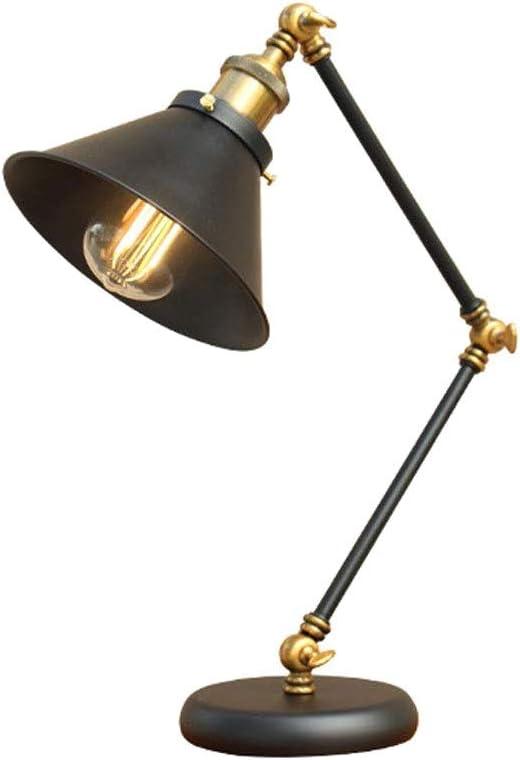 Lámpara de mesa industrial vintage, lámpara de mesa negra ...
