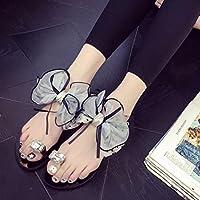 haoricu Women Shoes, Sweet Women Flower Bow Rhinestone Flat Heel Toe Sandals Teens Beach Casual Slipper Shoes (US:7, Gray)