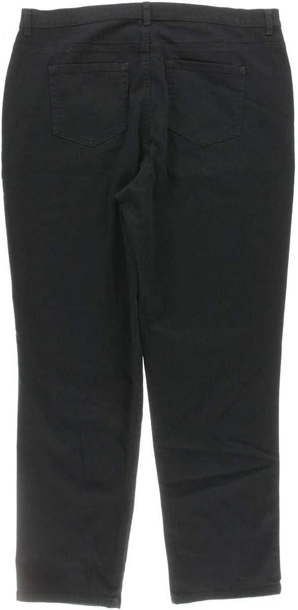 Womens Plus Denim High-Waist Straight Leg Jeans Black 14W Style /& Co