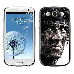 CASECO - Samsung Galaxy S3 - John Ramb0 - Delgado Negro Plástico caso cubierta Shell Armor Funda Case Cover - John Ramb0