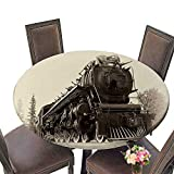 PINAFORE Chateau Easy-Care Cloth Tablecloth or Northern Type Steam Train Engine Built by The Montreal Locomotive Works for Home, Party, Wedding 43.5''-47.5'' Round (Elastic Edge)