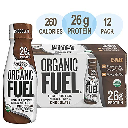 Organic Valley, Organic Fuel High Protein Milk Meal Replacement Shakes, 26G Protein, Chocolate 11 ounces (Pack of 12)