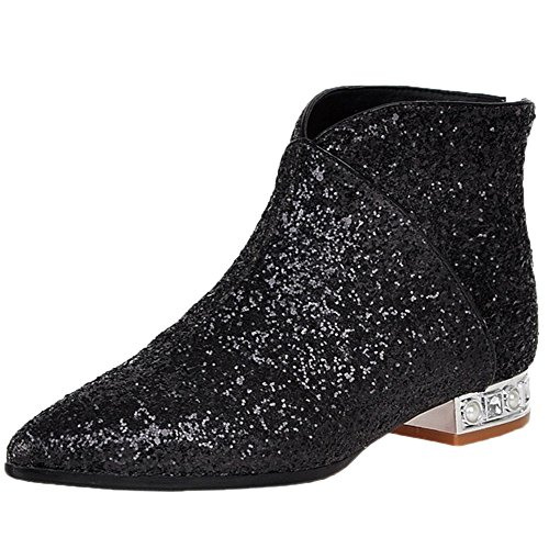 Yiuoer Royou Ankle Chelsea Toe Pointed Sequins Boots Black Boots Heel Bling Zipper Women Axw4Zaxqd