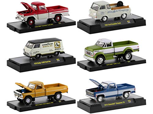 Auto Trucks 6 Piece Set Release 63 in Display Cases Limited Edition to 8875 Pieces Worldwide 1/64 Diecast Model Cars by M2 Machines 32500-63