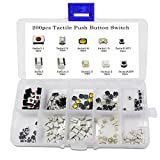 WINGONEER 250PCS 10Value Tactile Push Button Switch Micro Momentary Tact Assortment Kit + Plastic Box