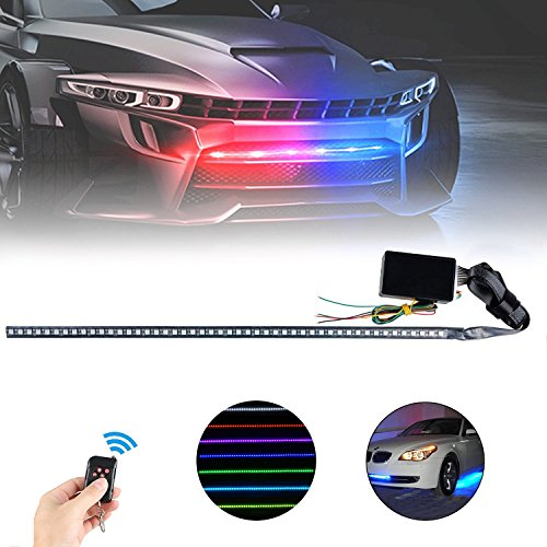 LinkStyle 60ft Car RGB LED Strip lights 48 LEDS Car Strip Lights with Remote, 7 Color Changing Car Atmosphere Lights Waterproof Car Exterior Light with Remote Controller for Car Trunk
