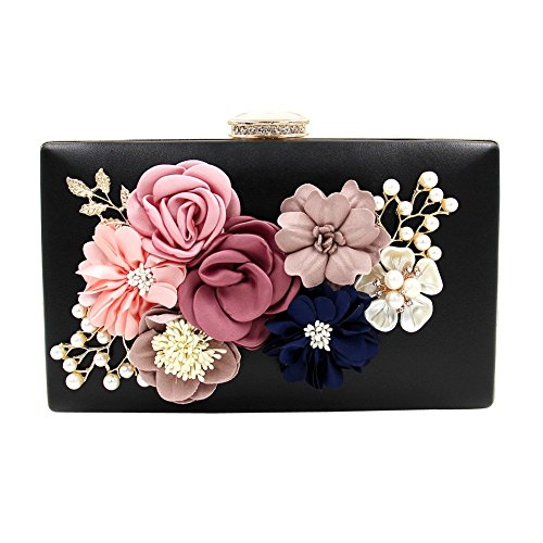 Flower Pearls Women's Black Case Evening Dasior Satin Party Handbag Clutch Beaded OPRxwtEAq