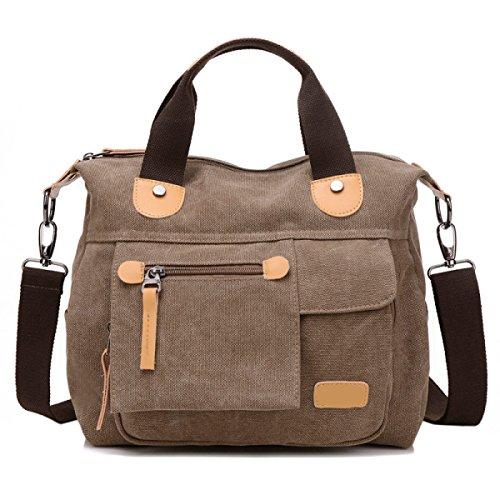 Frauen Jahrgang Leinwand Schulter Ipad Messenger Handtasche Schule Multifunktional Tasche ,D-OneSize