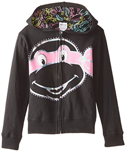 Nickelodeon Little Girls' Teenage Mutant Ninja Turtles Reversible Zip Up Hoodie, Black, -