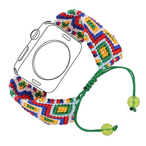 Bandmax Compatible Apple Watch Band Woven Nylon 42MM 44MM, iWatch Series 4/3/2/1 Handmade Weave Friendship Bracelet Ethnic Braided Bracelet Mix Flexible Drawstring Clasp