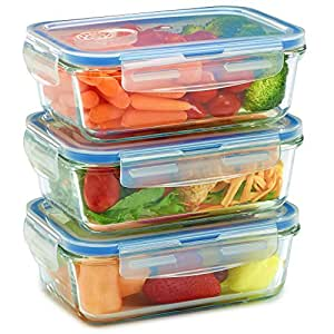 Glass Meal Prep Containers - Food Storage To Go for Home & Kitchen - Snap On Lids Keep Food Fresh With Airtight Seal - Travel Safe - Dishwasher, Freezer, Microwave Oven - BPA Free (6 Piece)