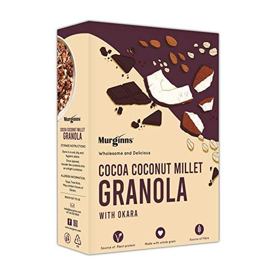 Murginns Cocoa Coconut Millet Granola | Healthy Breakfast with Ragi, Oats and Dark Chocolate - 300g