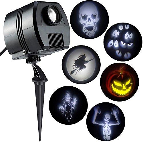(Halloween Led Lightshow Short Circuit Flickering Projection W/ 6 Slides- Witch,  Skeleton,  Reaper, Eyeballs, Skull and Pumpkin Indoor Outdoor)