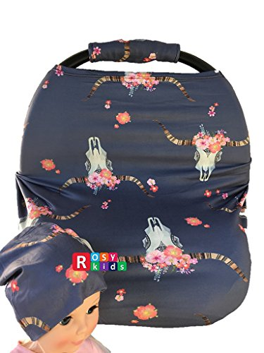 Full Care Kit - Rosy Kids Stretchy Infant Car Seat Canopy Cover, Jersey Car Seat Cover Elastic Nursing Scarf Privacy Cover with Matching Car Seat Handle Cover and Baby Hat, Color08JY06