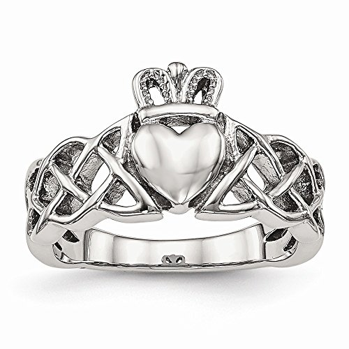 Size 7 - Stainless Steel Polished Claddagh Ring